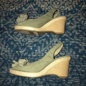 New York & Company green wedges size 7
